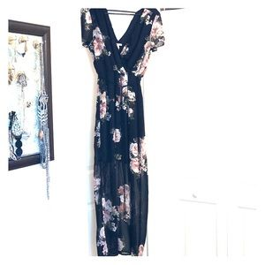 Long floral dress.